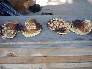 Janie's Pancakes on a Plank